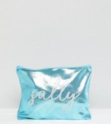 South Beach Salty Metallic Blue Zip Top Pouch Clutch Bag - Blue