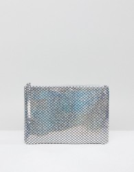 South Beach Silver Holographic Mermaid Zip Top Pouch - Silver