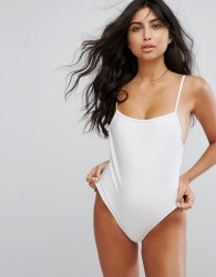 South Beach Straight Neck Low Back Strappy Swimsuit - White