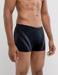 Speedo Aquashort Swim Trunks with Sport Panel - Black