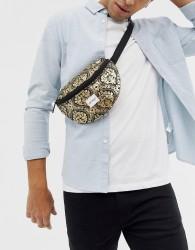 Spiral bum bag in gold print - Black