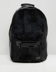 Spiral Rave Backpack in Faux Fur - Black