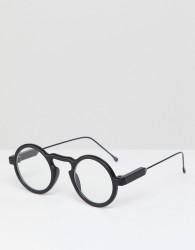 Spitfire Aurora round clear lens glasses in black - Black