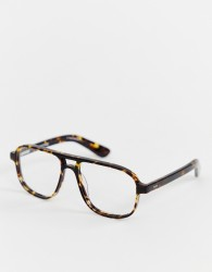 Spitfire DATT square clear lens glasses in brown - Brown