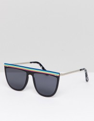 Spitfire Flat Brown Sunglasses In Black - Black