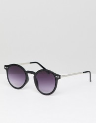 Spitfire Round Sunglasses In Black - Black