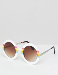 Spitfire Round Sunglasses In White - White