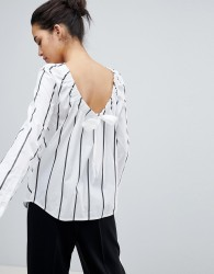 Sportmax Code Striped Shirt with Ruched Tie - Multi