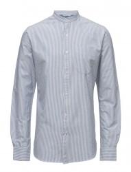 Stand Collar Striped Shirt - Gots