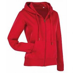 Stedman Active Hooded Sweatjacket For Women - Red - Large