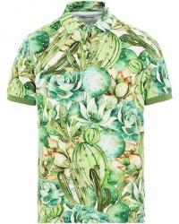 Stenströms Cactus Printed Cotton Polo Green men S