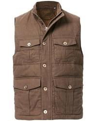 Stenströms Cotton/Linen Quilted Vest Brown men S Brun