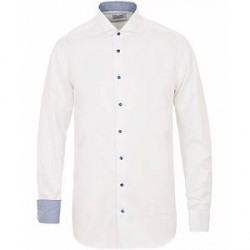 Stenströms Fitted Body Contrast Shirt White