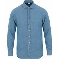 Stenströms Fitted Body Garment Washed Shirt Light Denim