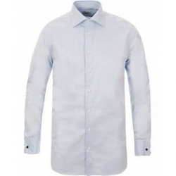 Stenströms Fitted Body Shirt Double Cuff Blue