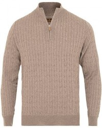 Stenströms Merino Wool Cable Half Zip Beige men XXL