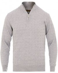 Stenströms Merino Wool Cable Half Zip Grey men S