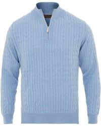 Stenströms Merino Wool Cable Half Zip Light Blue men L