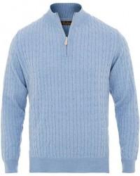Stenströms Merino Wool Cable Half Zip Light Blue men M