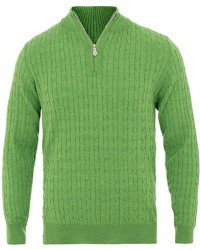 Stenströms Merino Wool Cable Half Zip Light Green men XL