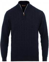 Stenströms Merino Wool Cable Half Zip Navy men L