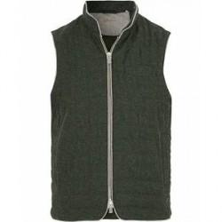 Stenströms Quilted Wool Herringbone Vest Green