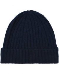 Stenströms Ribbed Cashmere Hat Navy men One size Blå