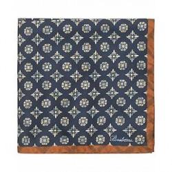 Stenströms Silk Medallion Doublefaced Pocket Square Brown/Blue