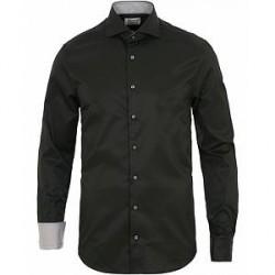 Stenströms Slimline Contrast Shirt Black