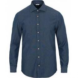 Stenströms Slimline Garment Washed Shirt Dark Denim