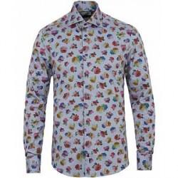 Stenströms Slimline Printed Flower Shirt Blue