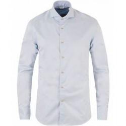 Stenströms Slimline Washed Cotton Plain Shirt Light Blue