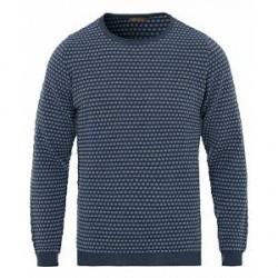 Stenströms Textured Contrast Dot Merino Crew Neck Pullover Blue
