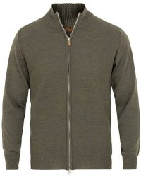 Stenströms Textured Merino Wool Full Zip Green men S