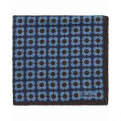 Stenströms Wool Printed Medallion Pocket Square Brown