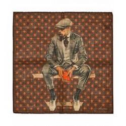 Stenströms Wool/Silk Medallion/Gentleman Pocket Square Dark Brown