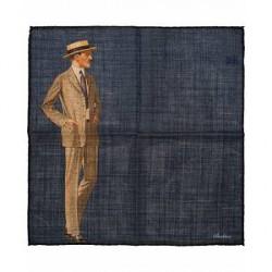 Stenströms Wool/Silk Printed Gentleman Pocket Square Dark Blue