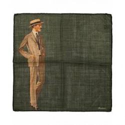 Stenströms Wool/Silk Printed Gentleman Pocket Square Dark Green