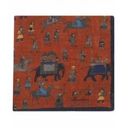 Stenströms Wool/Silk Printed Hunters Pocket Square Orange/Dark Blue