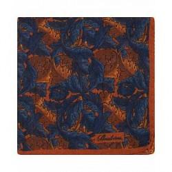 Stenströms Wool/Silk Printed Leaf Pocket Square Blue/Orange