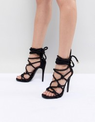 Steve Madden Dream Rope Tie Up Heeled Sandals - Black