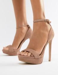 Steve Madden Sarah suede heeled sandals in blush - Pink