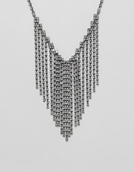 Steve Madden stone chain fringe chain statement necklace - Silver