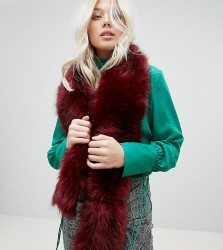 Stitch & Pieces Faux Fur Scarf in Berry - Red