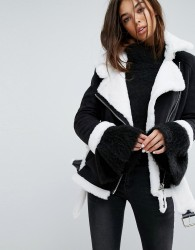 Story Of Lola Oversized Aviator Coat With Faux Shearling Lining - Black