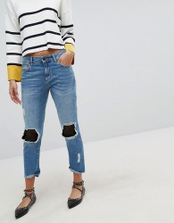 Stradivarius Denim Jean With Mesh Patching - Blue