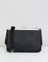 Stradivarius rectangle clutch bag in black - Black