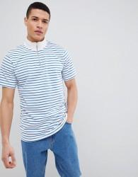 Stradivarius Stripe Quarter Zip Sweatshirt In White - White