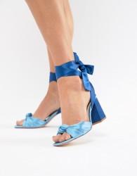 Stradivarius wraparound block sandals - Blue