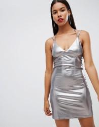 Strappy liquid metallic mini dress - White